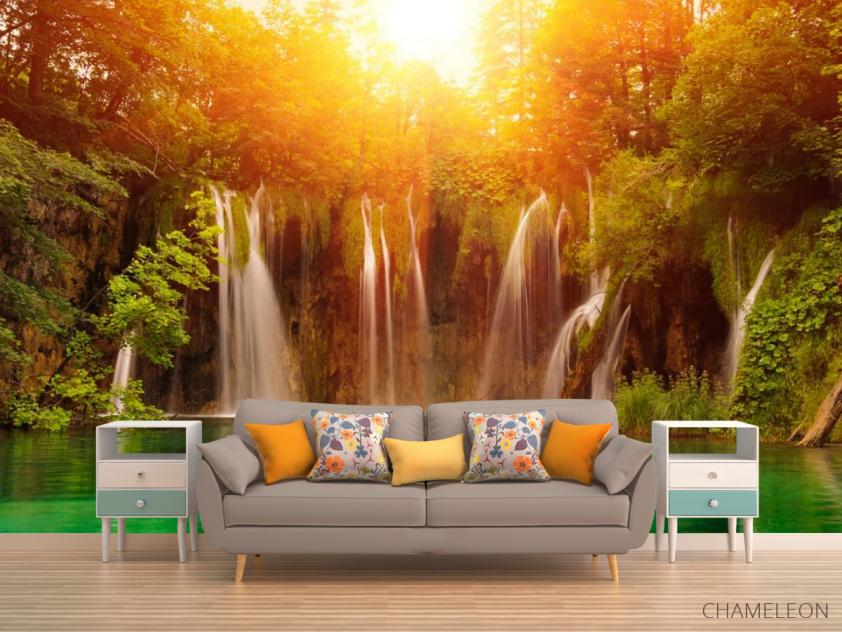 Фотообои солнце над водопадом - 1