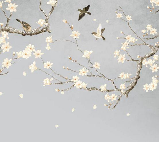 Фотошпалери гілки магнолії в японському стилі 26667