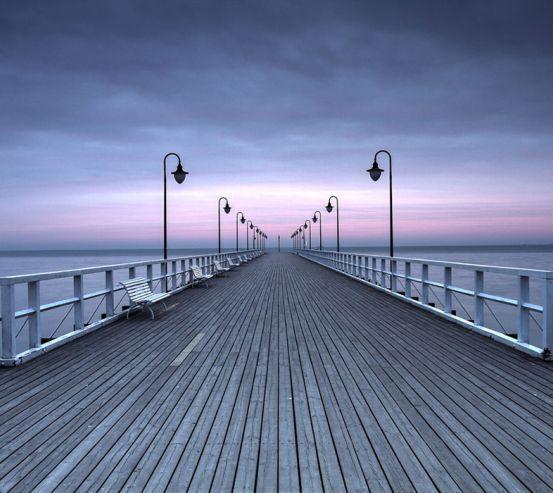 Фотошпалери Фіолетовий захід у дороги 15551