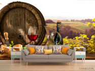Фотообои бочка, сыр и вино - 1