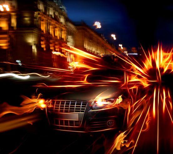 Фотообои Авто в огнях 0932