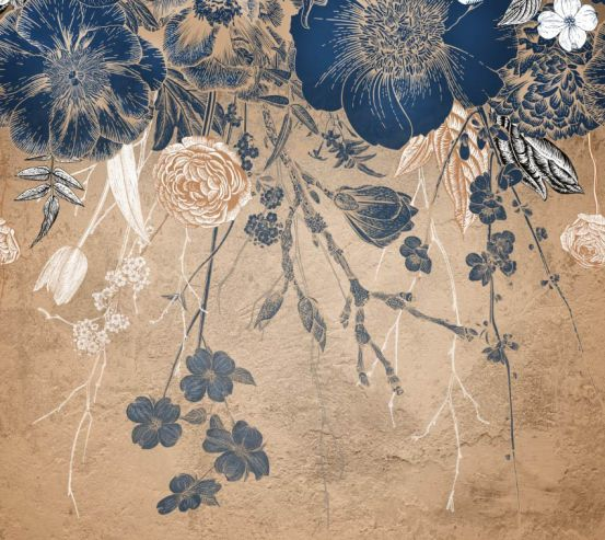 Фотошпалери Вінтажні сині квіти 24351