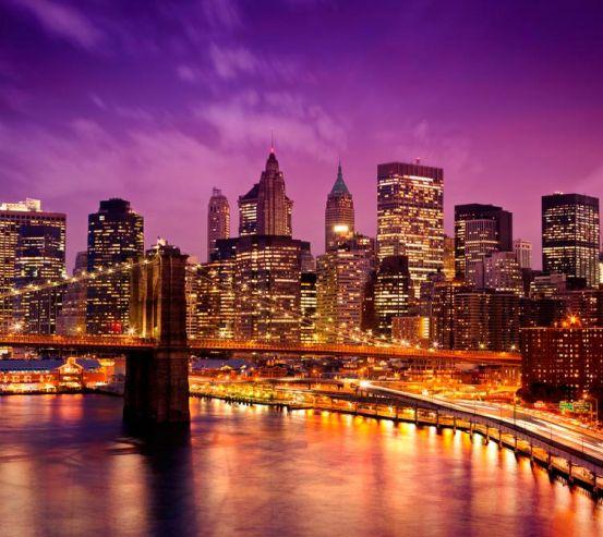 Фотообои Ночной город, мост 8234