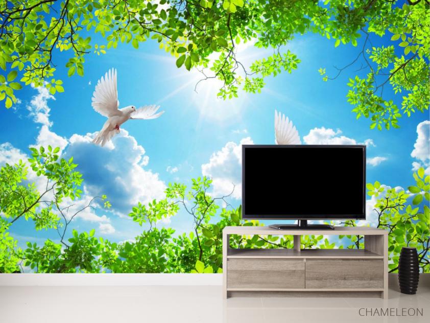 Фотообои Ветки и голуби для потолка - 2