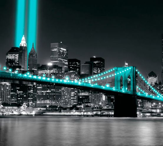Фотообои Ночной город в бирюзовых огнях 20113