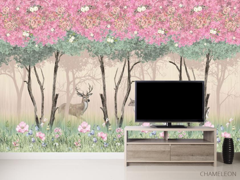Фотообои Олени в розовом лесу - 2