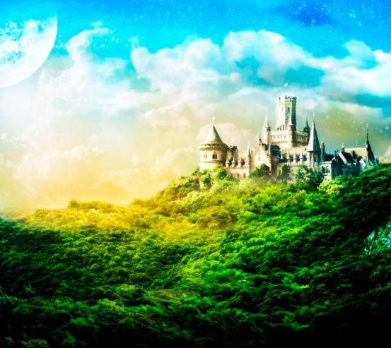 Фотообои Утопающий в зелени замок  1021