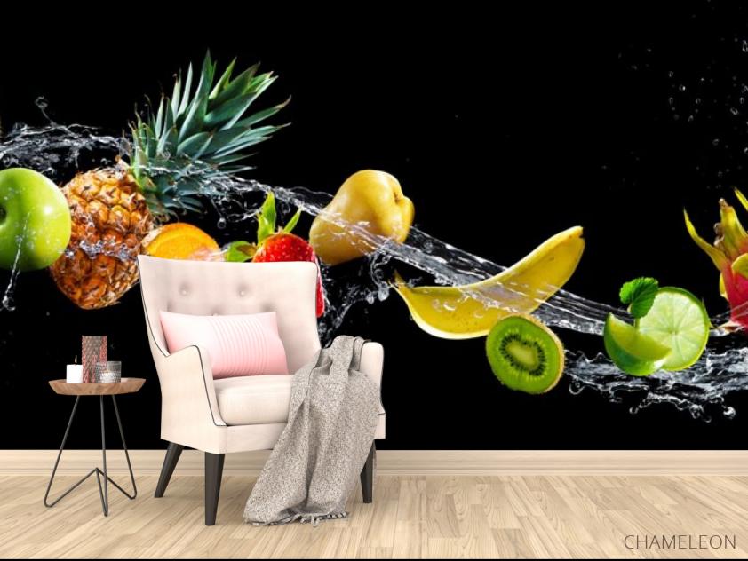 Фотообои фрукты и вода на черном фоне - 4