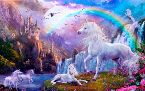 Фотообои Сказочные единороги и радуга