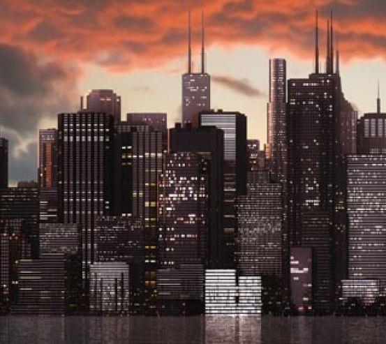 Фотообои закат над мегаполисом 20500