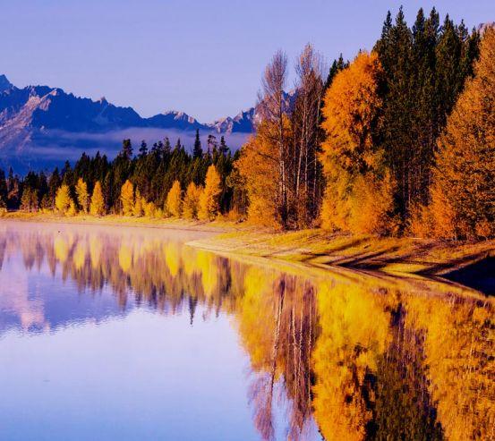 Фотообои осенние деревья над озером 20821