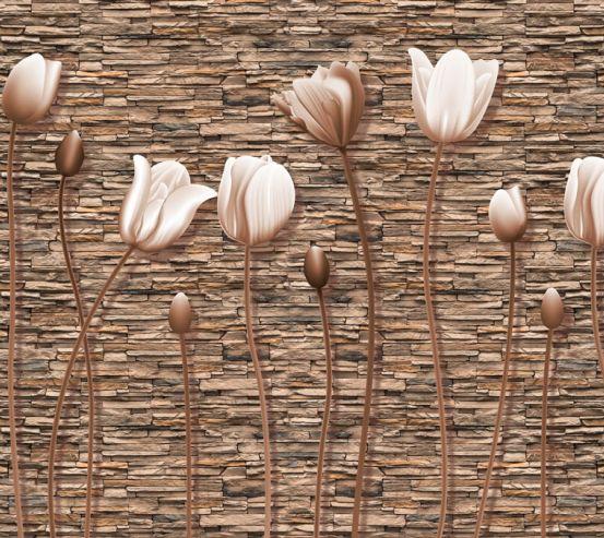Фотообои Тюльпаны на каменном фоне 20203