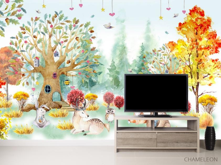 Фотообои Акварельный лес для детской - 2