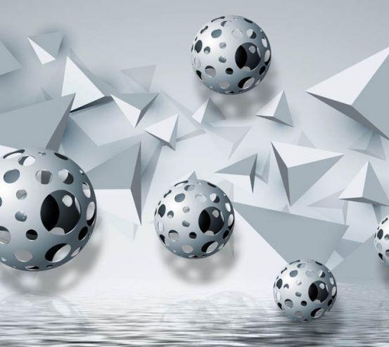 Фотообои 3д сферы над водой 28925