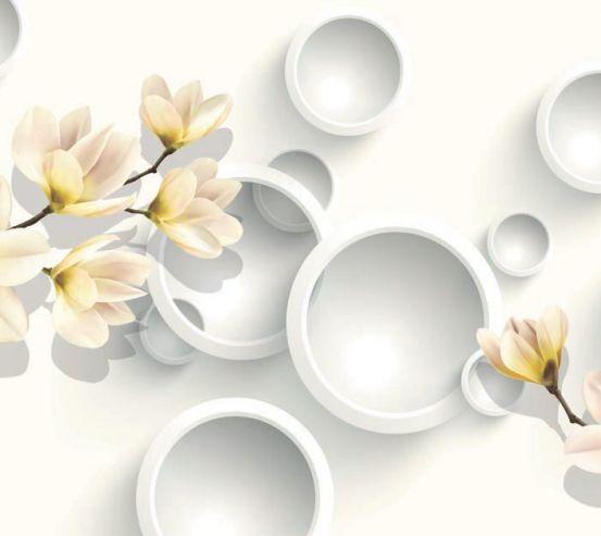 Фотообои Цветы с кругами  19692