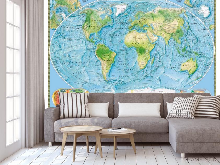 Фотообои Физическая карта мира - 3