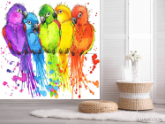 Фотообои пять разноцветных попугаев рисунок - 2