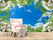 Фотообои Голуби в весеннем небе - 4