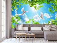 Фотообои Ветки и голуби для потолка - 3
