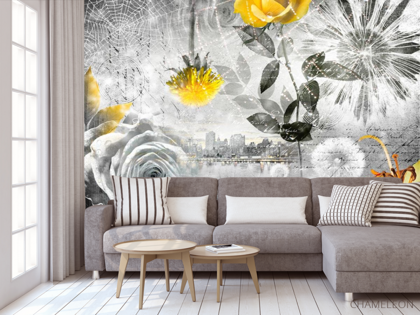 Фотообои 3d цветочная композиция - 3