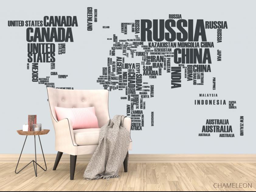 Фотообои Карта материков надписями - 4