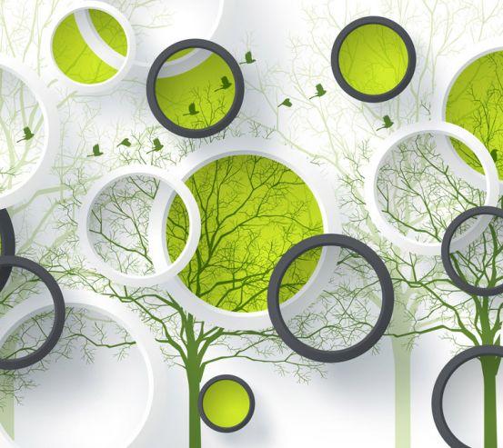 Фотообои  Круги и зеленые деревья 22245