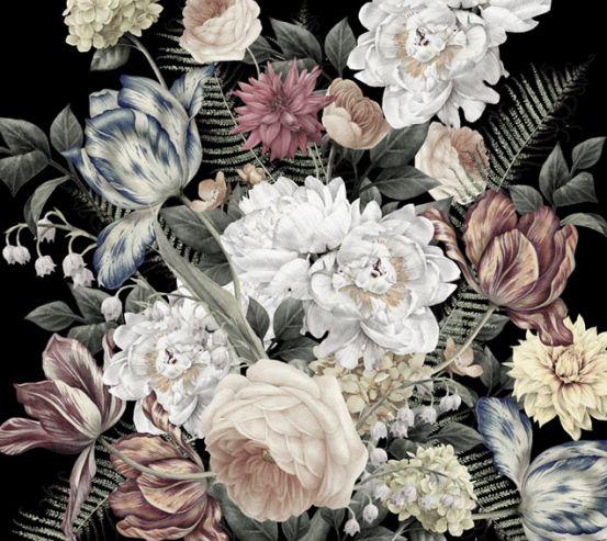 Фотообои Винтажные цветы на черном фоне 22546