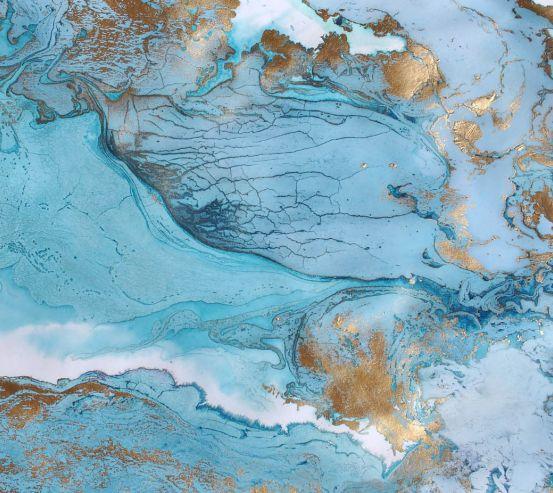 Фотообои Голубой флюид с золотыми участками 25065