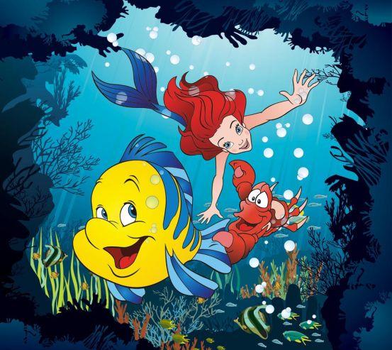 Фотообои Русалка, краб и рыбка 10982
