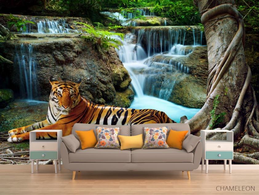 Фотообои тигр у водопада - 1