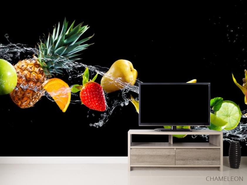 Фотообои фрукты и вода на черном фоне - 2