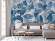 Фотообои серо-голубые листья - 3