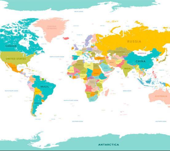 Фотообои Карта мира на английском 20115