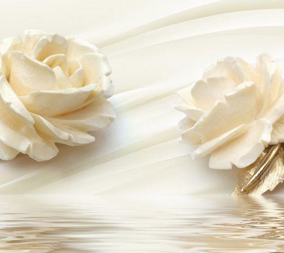 Фотообои Две большых керамических розы 22219