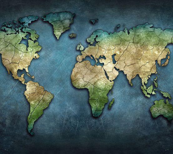 Фотообои Карта мира в синих тонах 20234