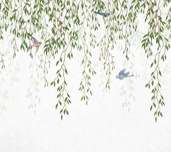 Фотошпалери гілки листяні зі стелі 26244