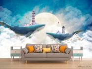 Фотообои 2 кита в море - 1