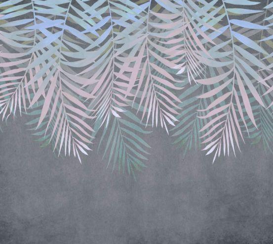 Фотошпалери Листя зі стелі на сірому 24312