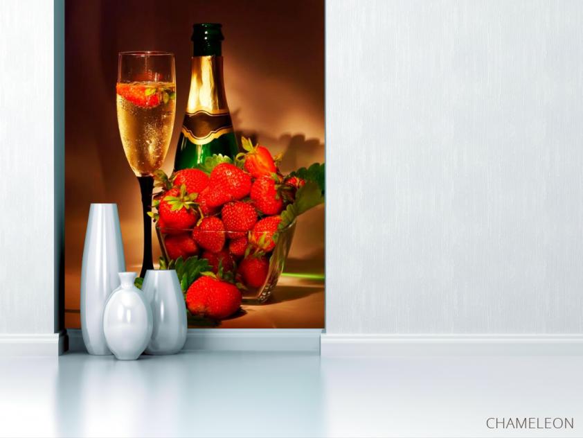 Фотообои Клубника, шампанское - 1