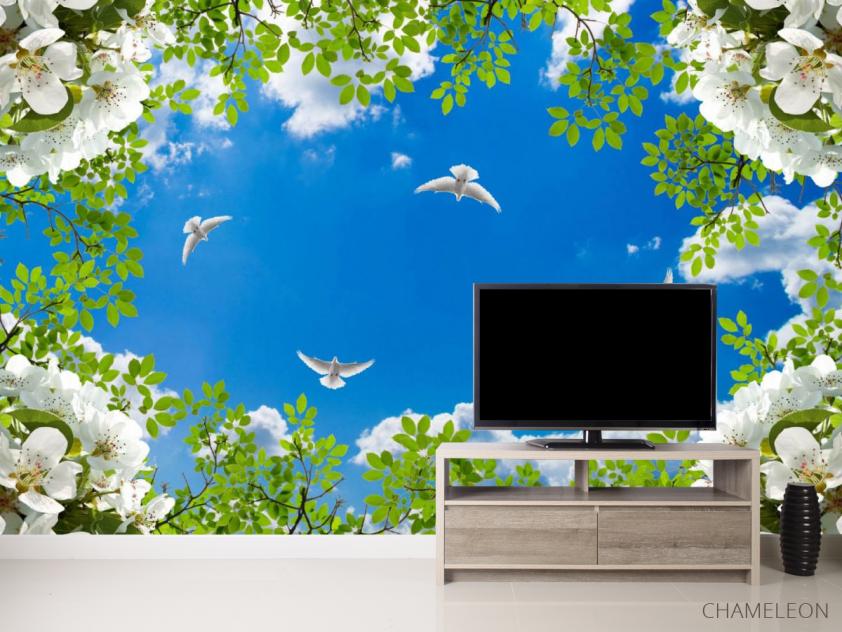 Фотообои Голуби в весеннем небе - 2