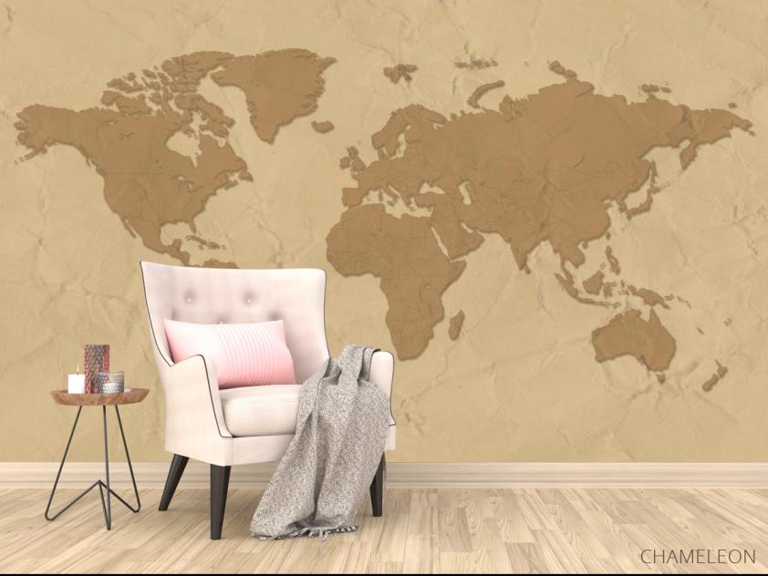 Фотообои Стилизация континентальной карты - 4