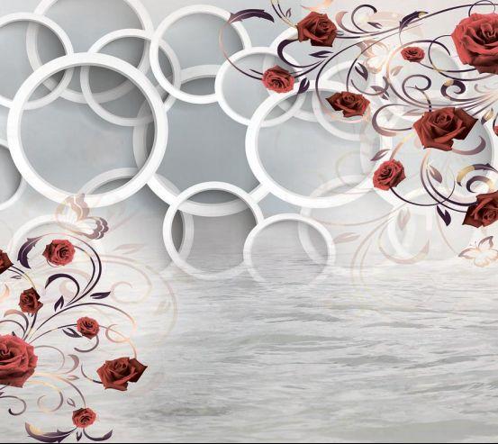 Фотообои Розы и круги 3d 18782