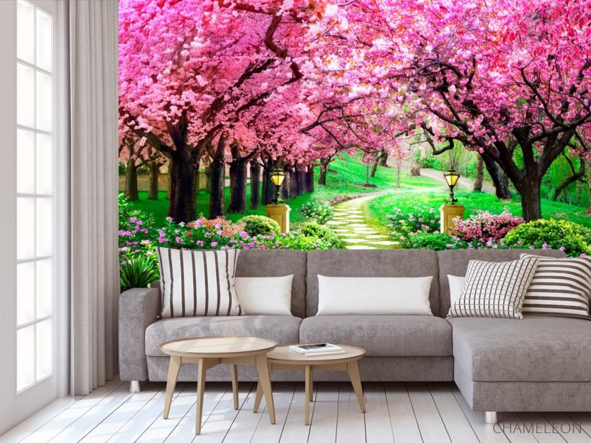 Фотообои Тоннель из розовых деревьев - 3