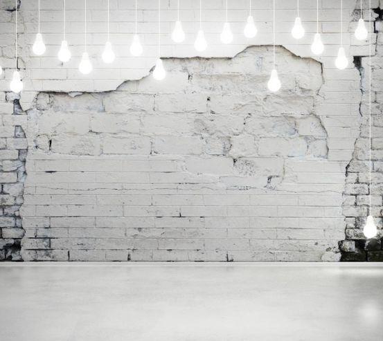 Фотошпалери Біла стіна з лампочками 20635