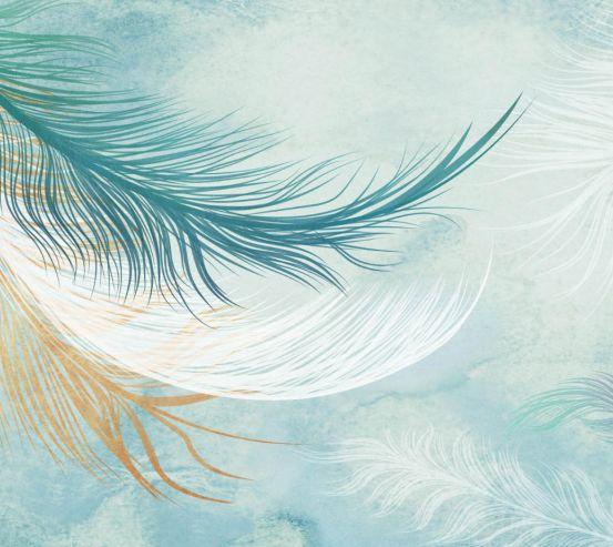 Фотообои Векторные перья голубые 25447