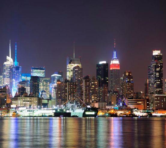 Фотообои New York, ночь, вода 8520