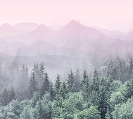 Фотошпалери ліс з рожевими горами 28773