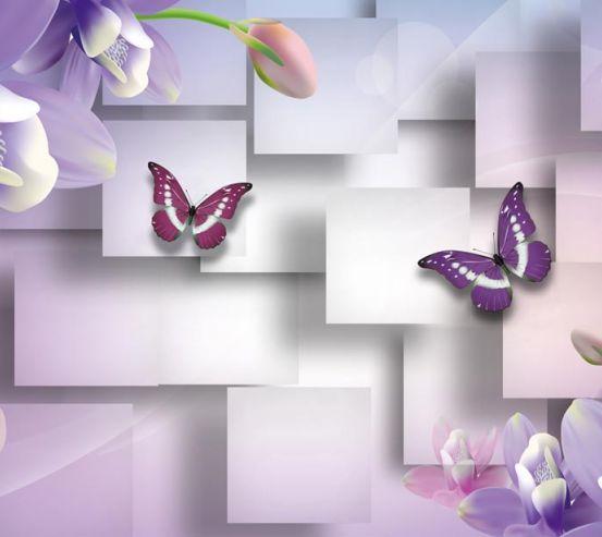 Фотообои Цветы с бабочками  19307