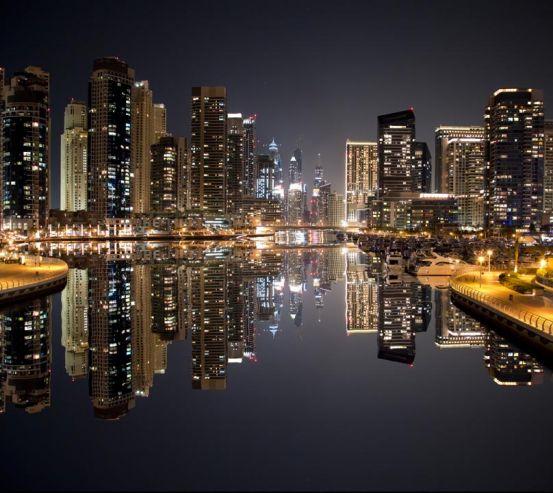 Фотообои городнад водой вечер 20621