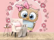 Фотообои Совушка на розовом фоне - 4